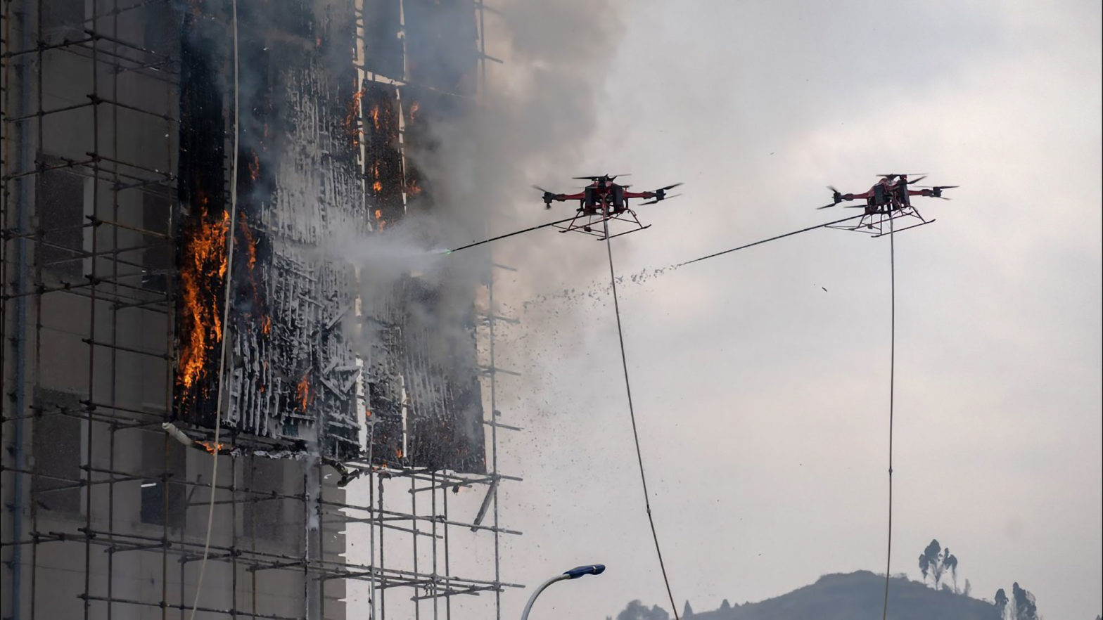 First Live Fire Fighting Drill With Fire-fighting Drones