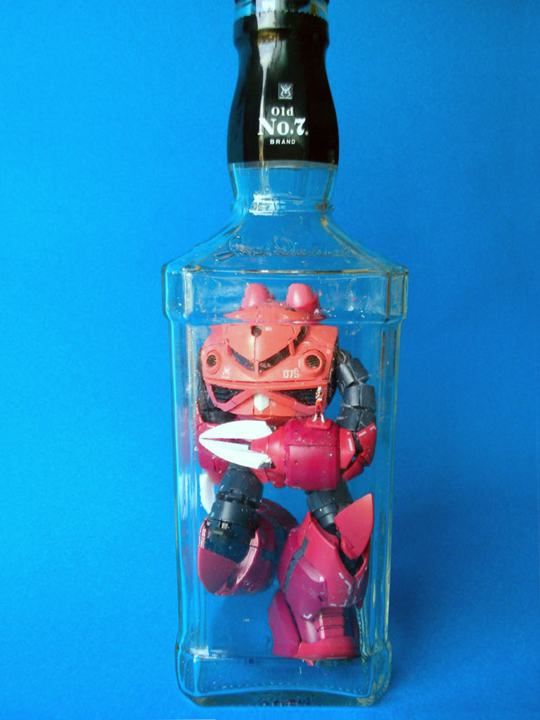 Gundam Model Kit Built Inside Bottles