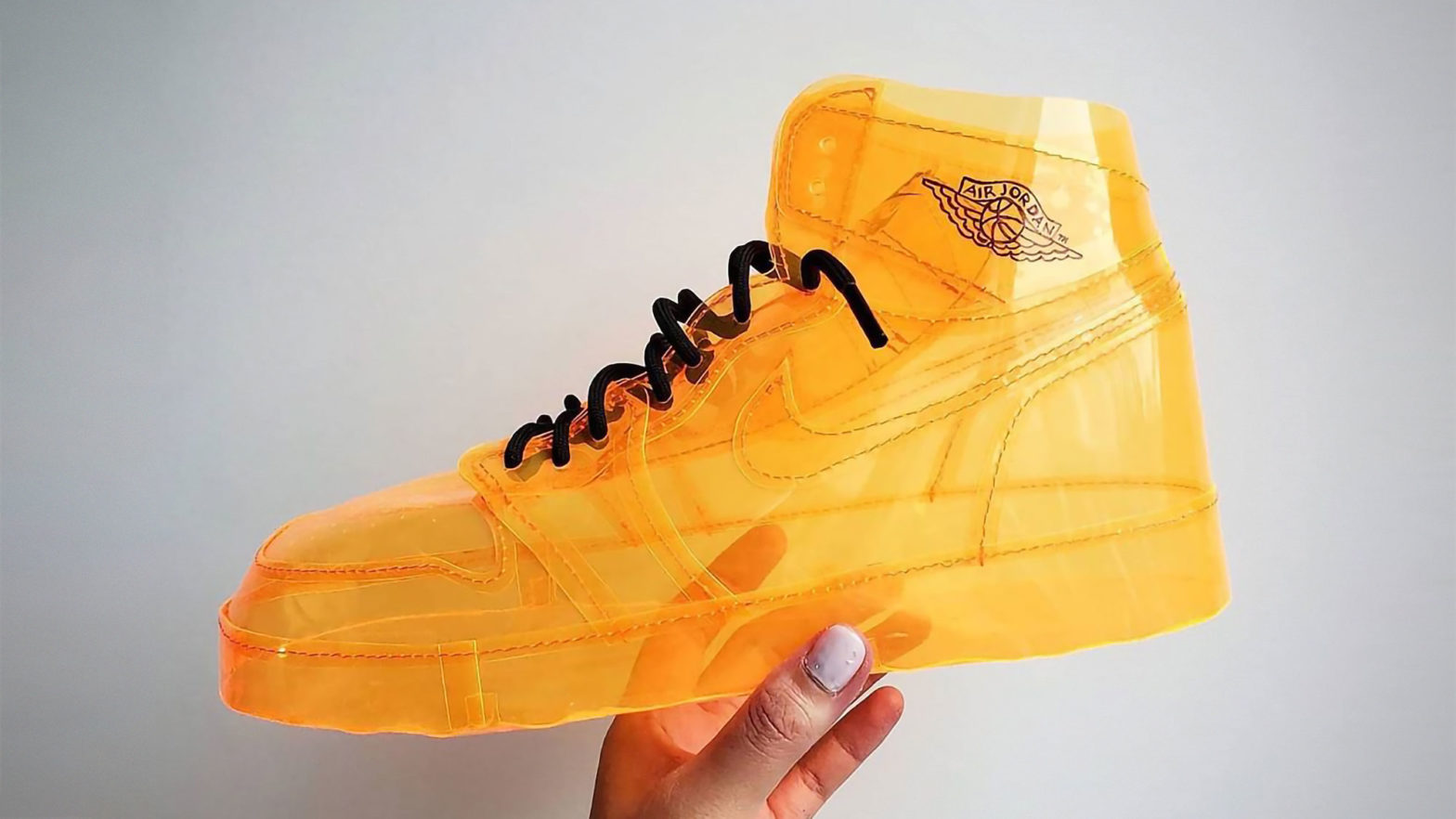 See-through Orange Air Jelly Jordan Sneakers