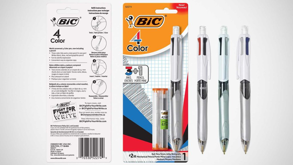 BIC 4-Color 3+1 Ballpoint Pen and Pencil