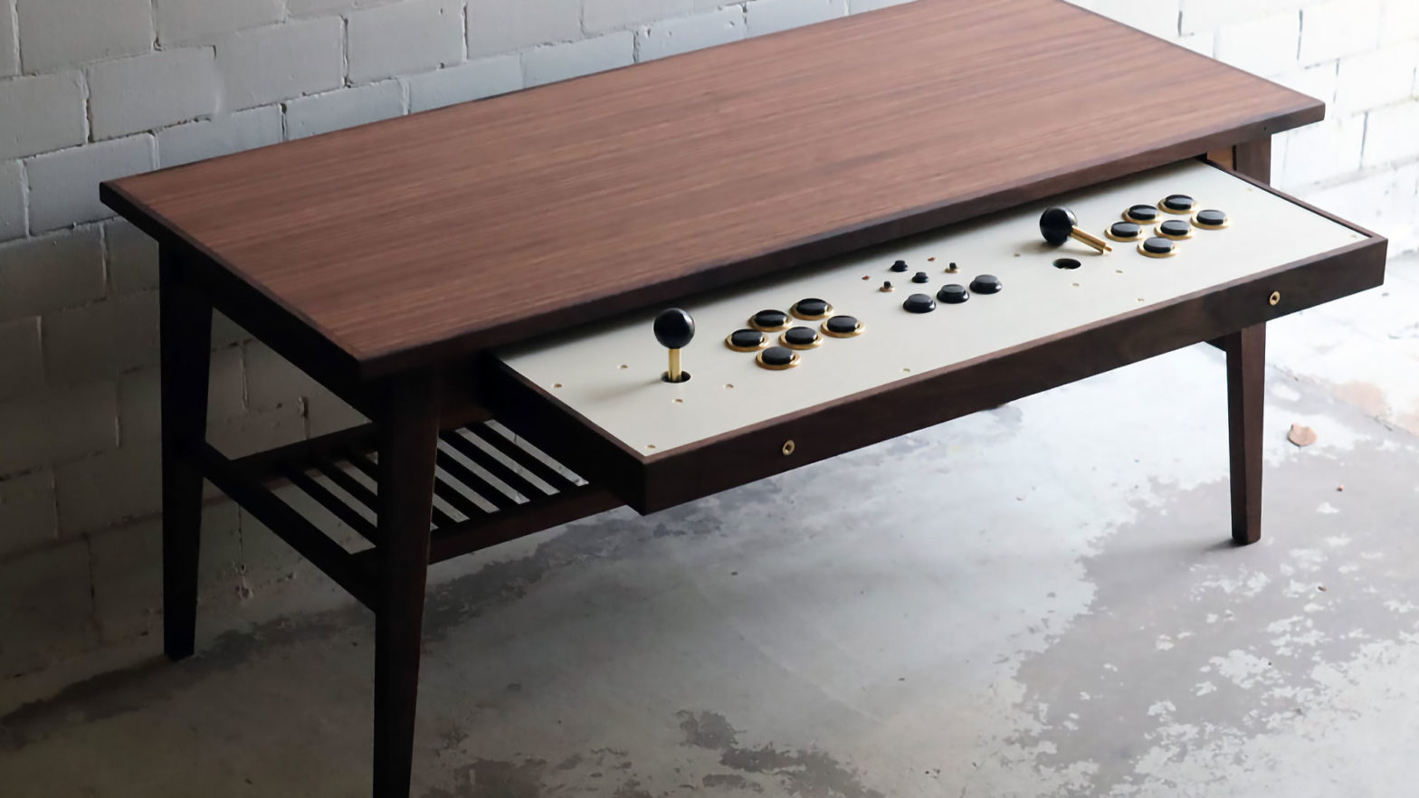 Coffee Table with Arcade Controllers