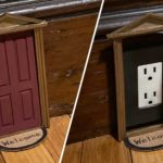 Electrical Outlets Cleverly Concealed By Cute Little Dollhouse Doors