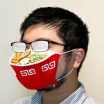 Ramen Face Mask Fogs Up The Wearer's Glasses, Look Like A Steaming (Half) Bowl Of Ramen