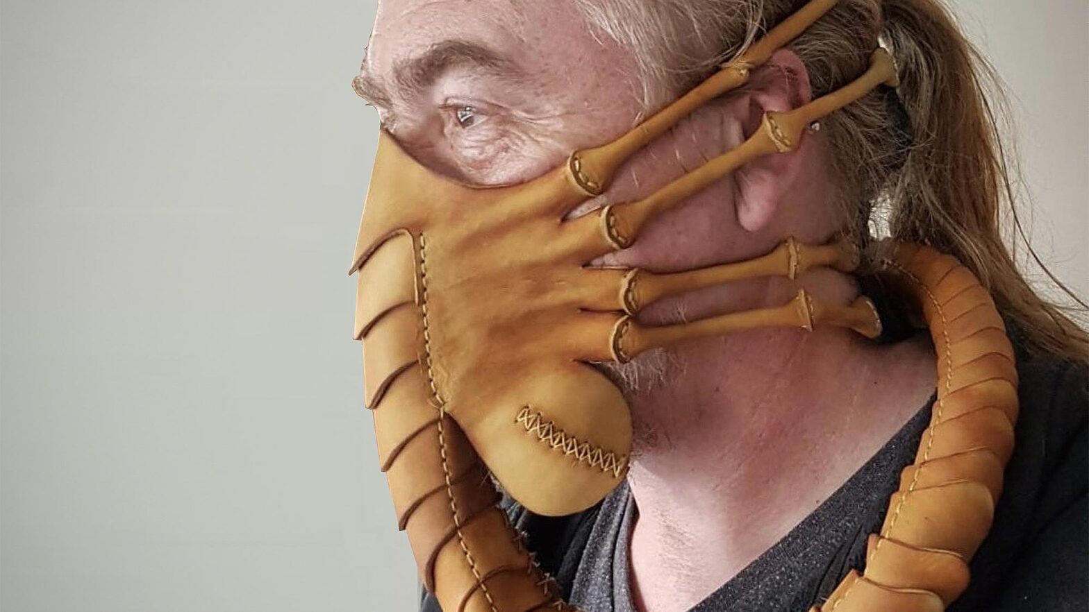 Leather Face Hugger Mask by Pirate's Leatherworks