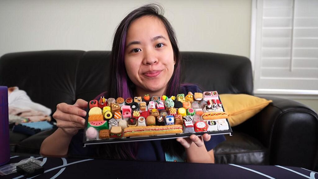Keyboard with Custom Food Keycaps by Tiny
