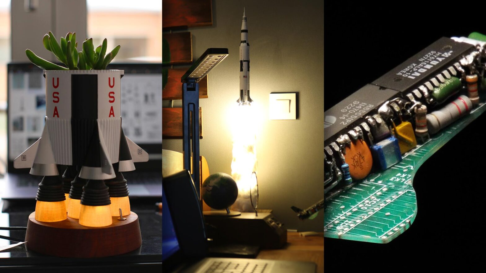 Saturn V Lamp and Rocket Planter by SimonRob