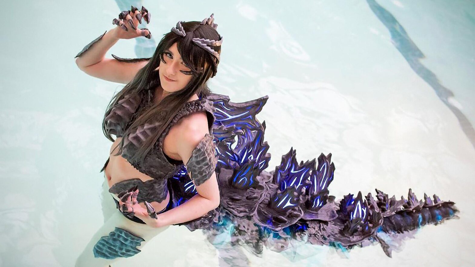Godzilla and Xenomorph Queen Swimsuit Cosplay