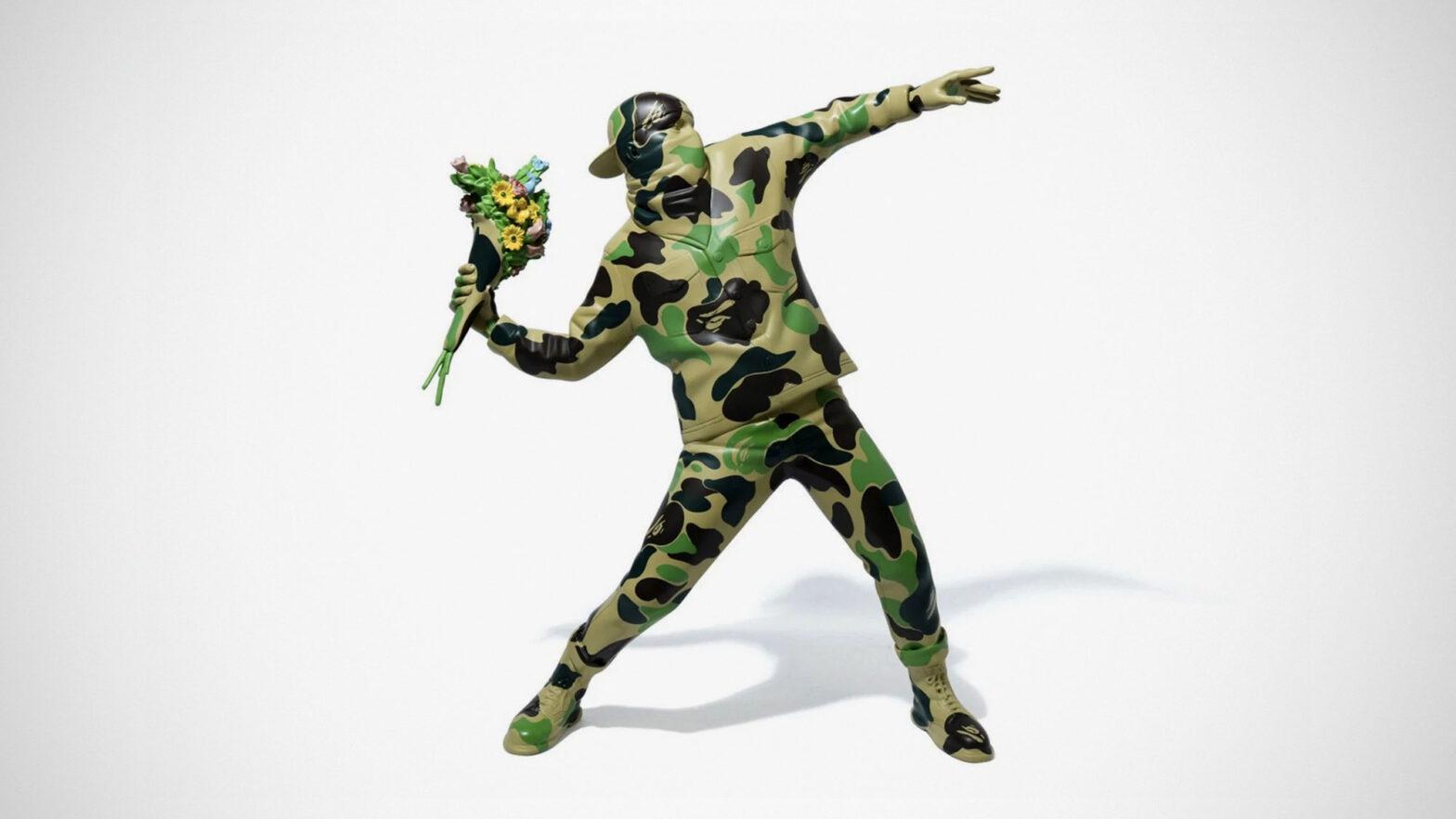 BAPE x Brandalism Banksy Flower Bomber Vinyl Figure