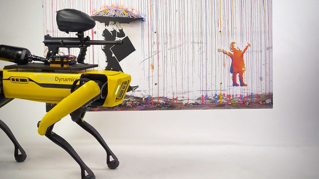 Spot Robot Dog Armed With Paintball Gun