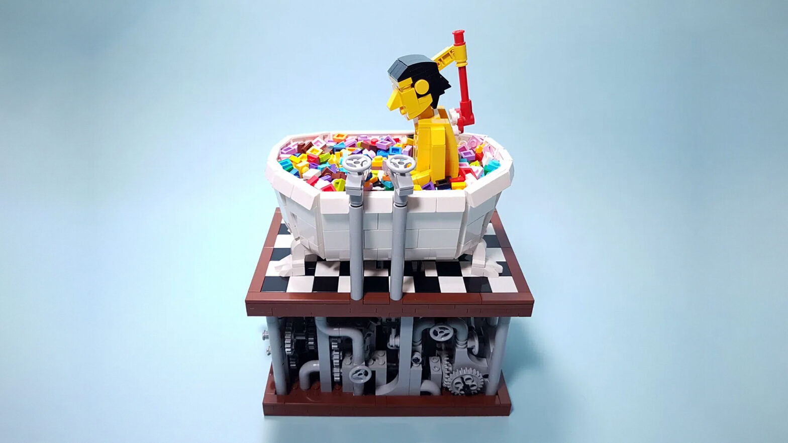 Bath Time LEGO Kinetic Art Sculpture by TonyFlow76