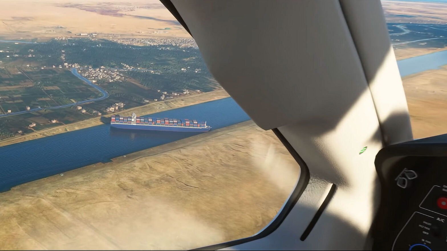 Cargo Ship Stuck in Suez Canal Microsoft Flight Simulator