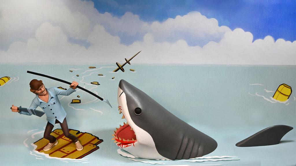 NECA JAWS Toony Terrors JAWS Quint & Shark Figures