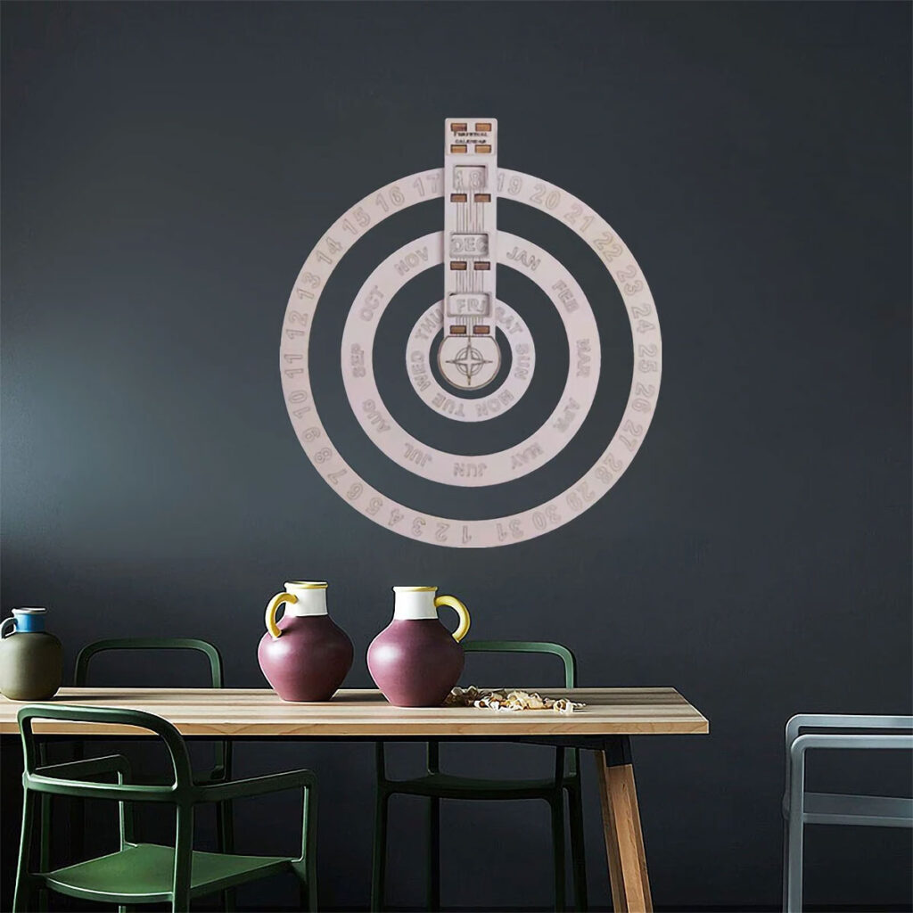 Wooden Hanging Round Spin Perpetual Calendar