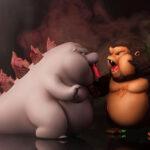 Ziboo vs Kingboo: Custom Cute Figures Of <em>Godzilla vs Kong</em> By Jay Rock