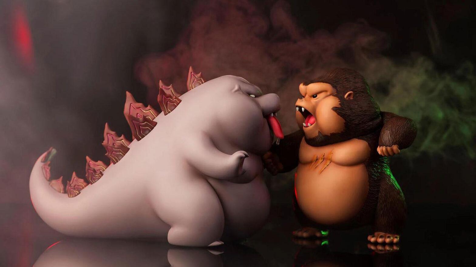 Cute Godzilla vs Kong Parody Figures
