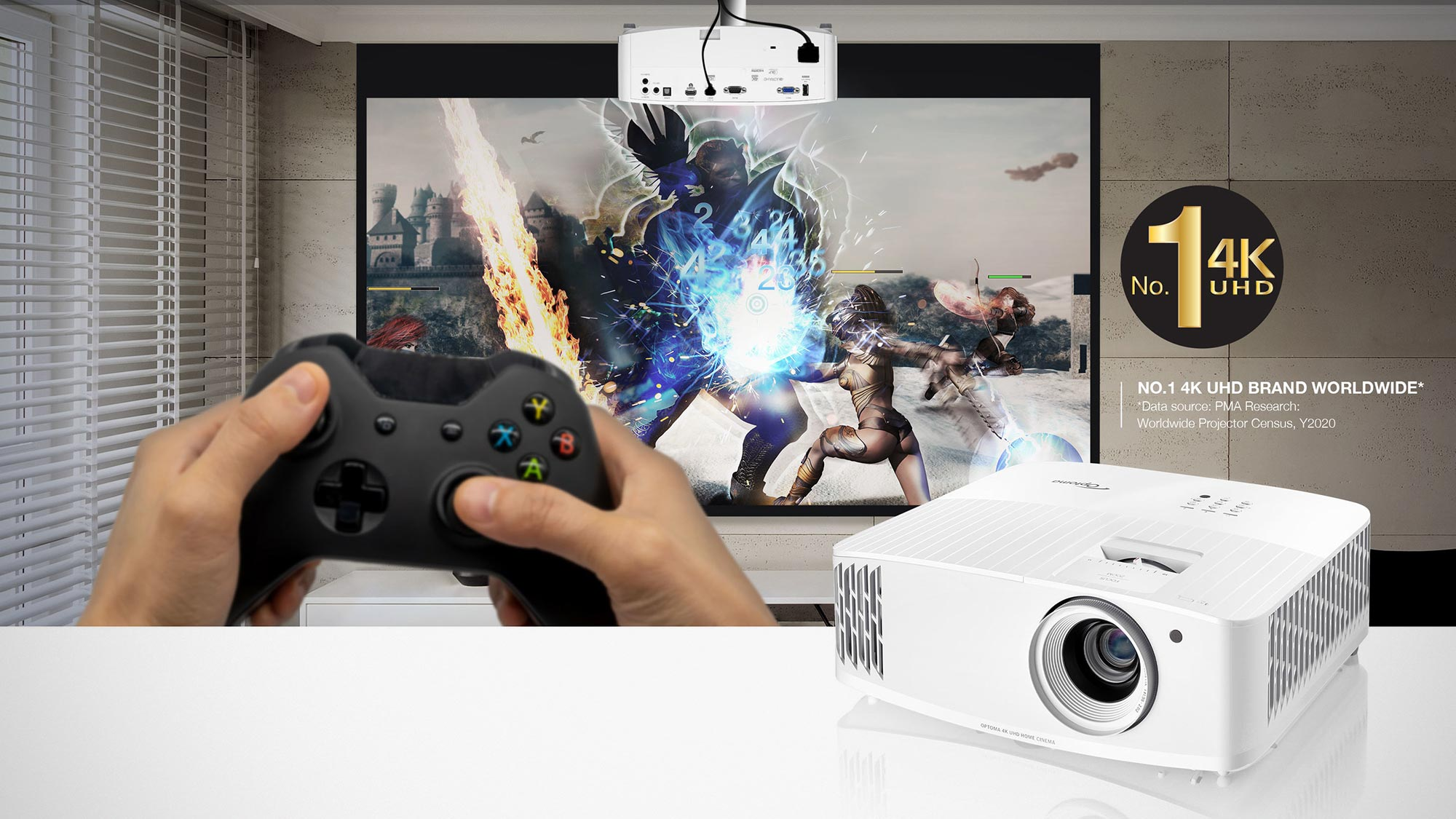 Optoma UHD38 4K Gaming and Home Theater Projectors