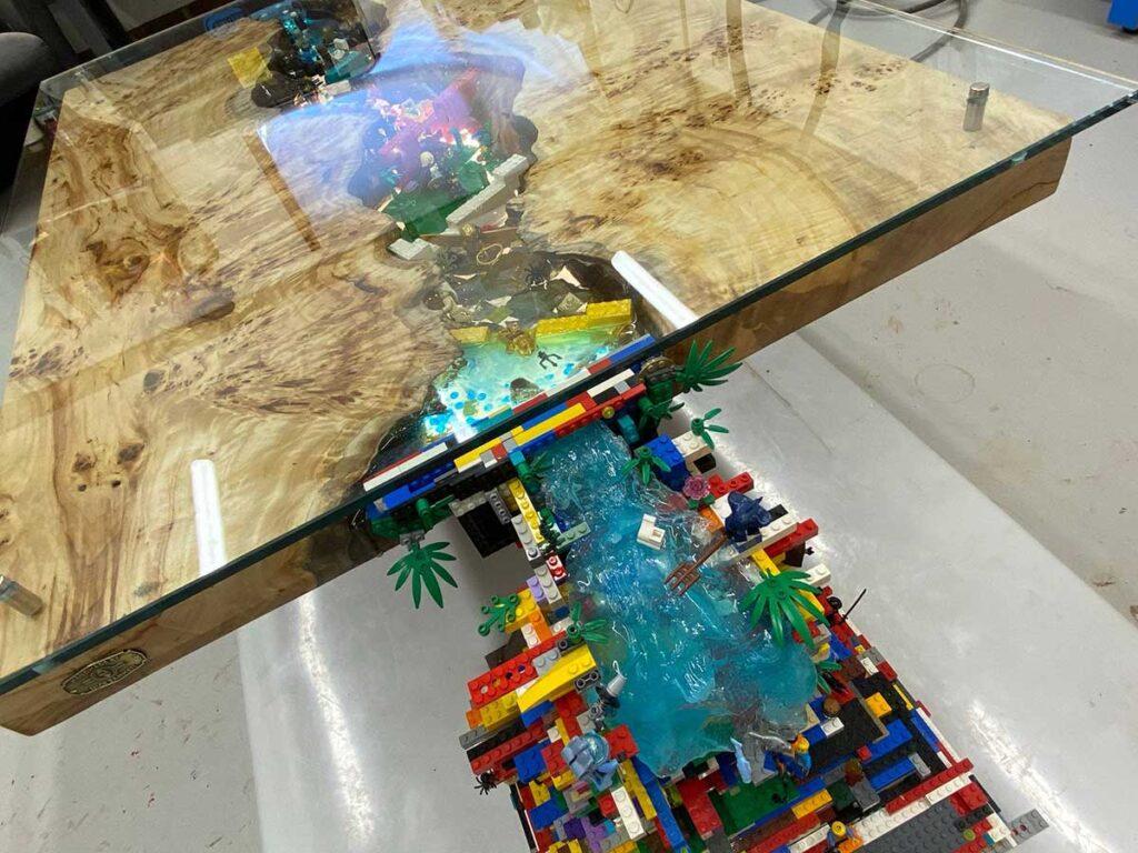 Custom LEGO Waterfall Coffee Table by Nick Zammeti