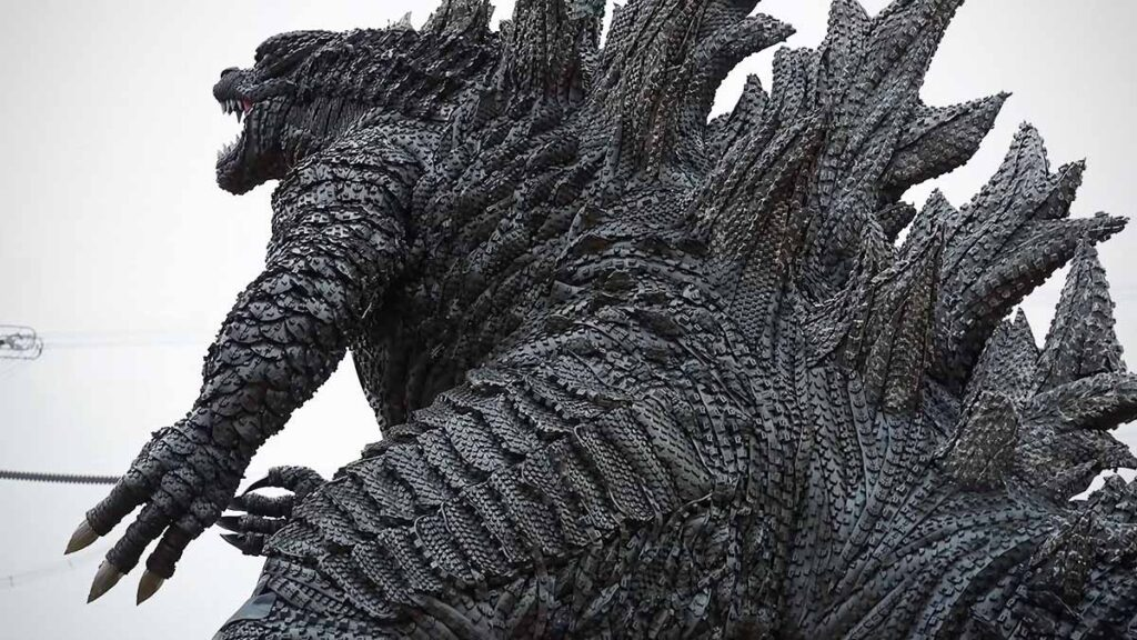 Godzilla Sculpture Made From Discarded Tires