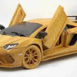 This Scale Model Of The 2021 Lamborghini Aventador S Was Carved Entirely Out Of Wood