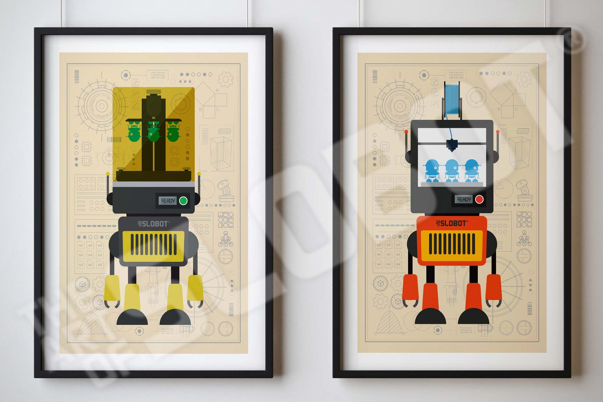 3D Printer Robot Illustration by Mike Slotbot