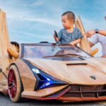 Father Made A Wooden Lamborghini Sian Kiddie Ride For His Son