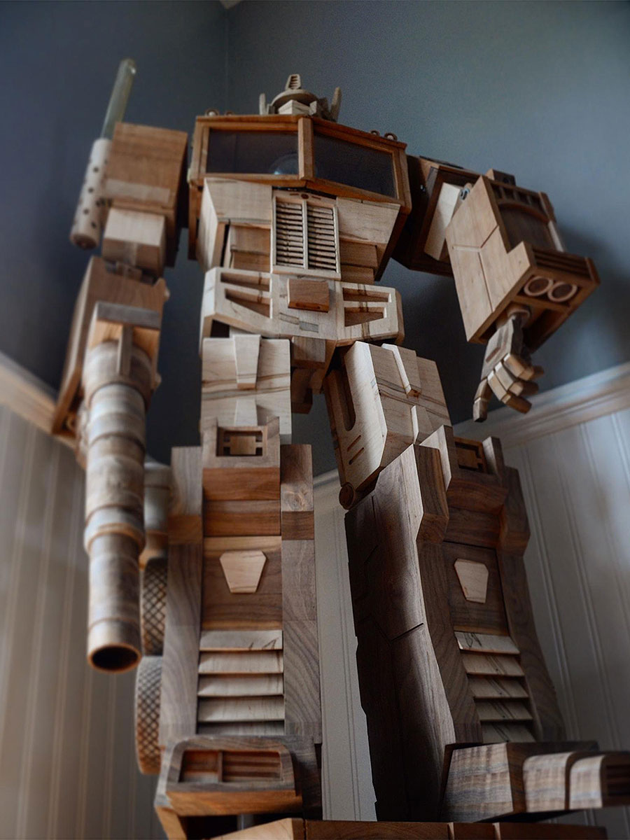 Custom Wooden Optimus Prime Lamp