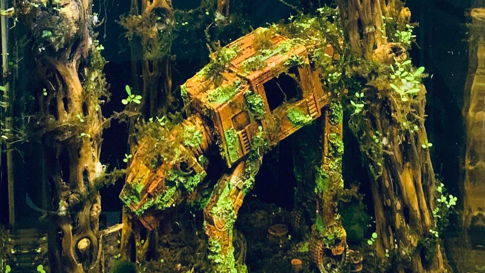 Fish Tank with Sunken AT-AT Decoration
