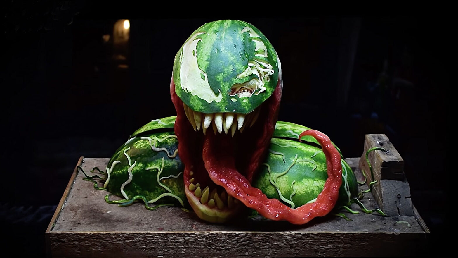 Venom Watermelon Sculpture by Valeriano Fatica